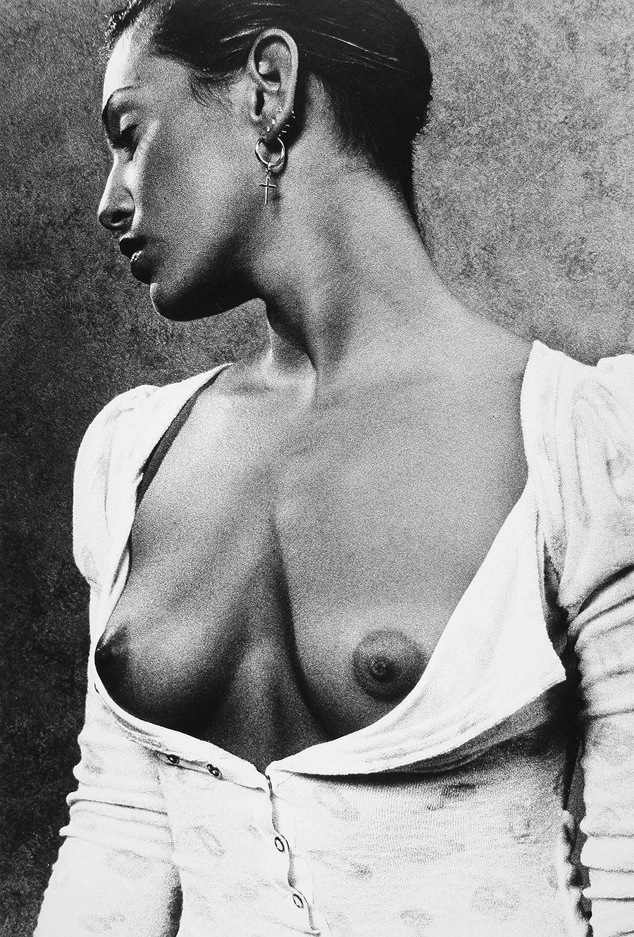 Tony_Ward_Studio_early_work_casting_calls_black_white_model_topless_unbottened_dress_cross_earrings
