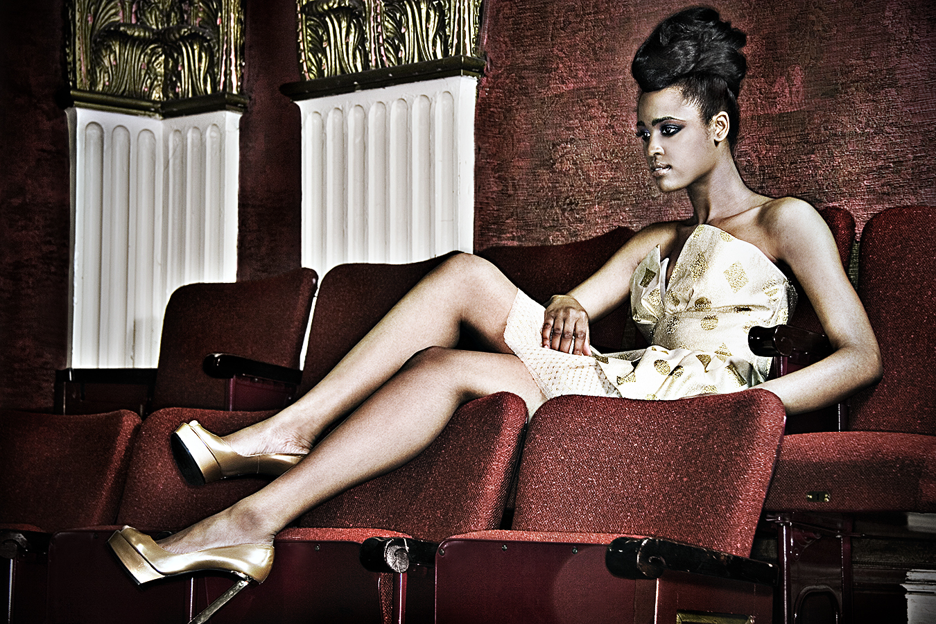 Tony_Ward_fashion_photography_shoot_African_American_beauty_gold_shoes_theater_scene