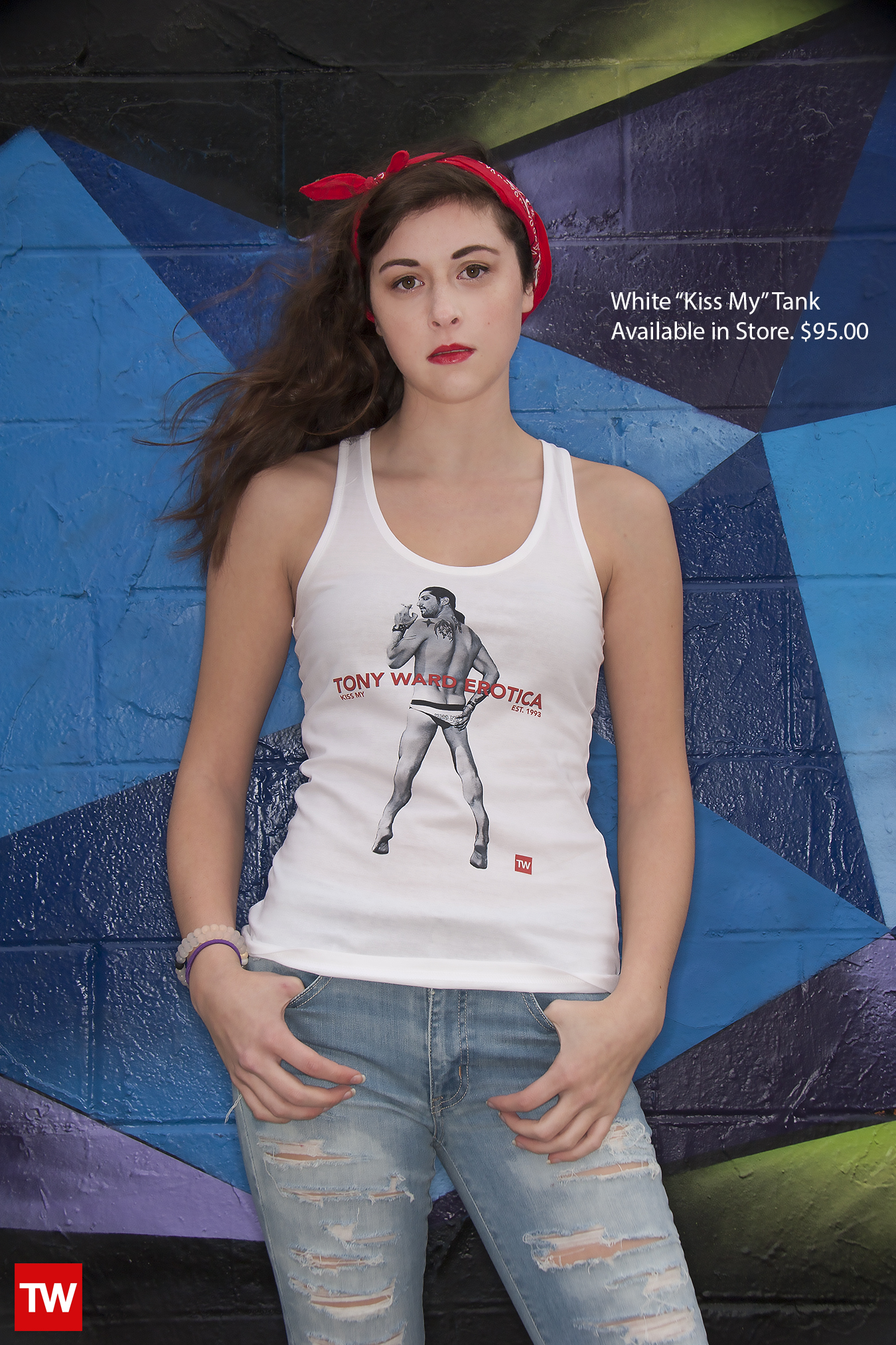 Tony_Ward_Studio_e_commerce_store_t-shirts_white_Kiss_My__tank_sale_model_Caralisa