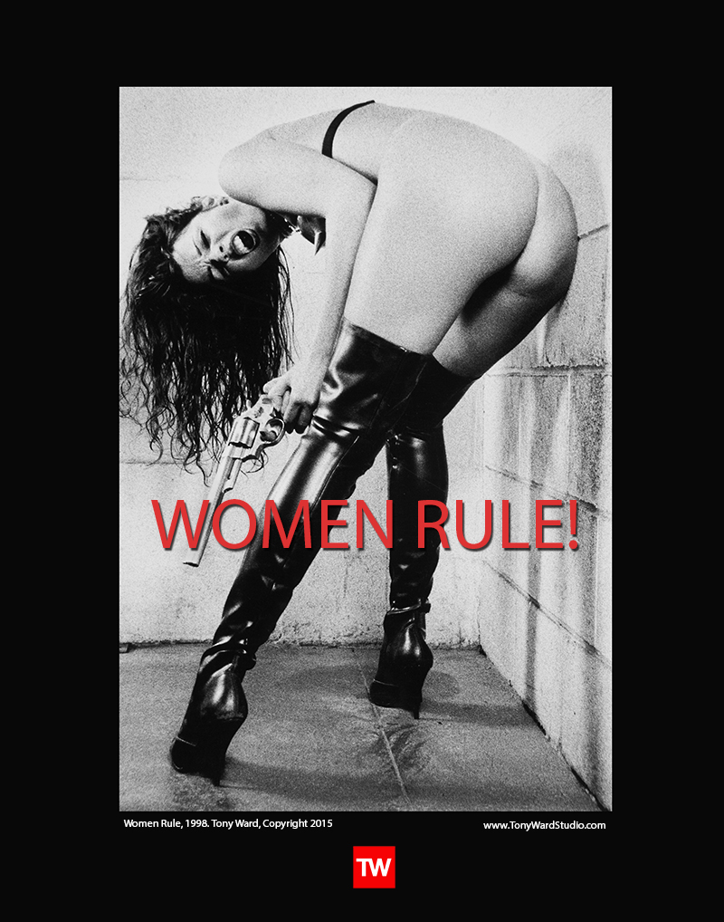 tony-ward-erotica_poster_title_women_rule_woman_with_large_handgun_44mag_sexy_boots_kinky_bra