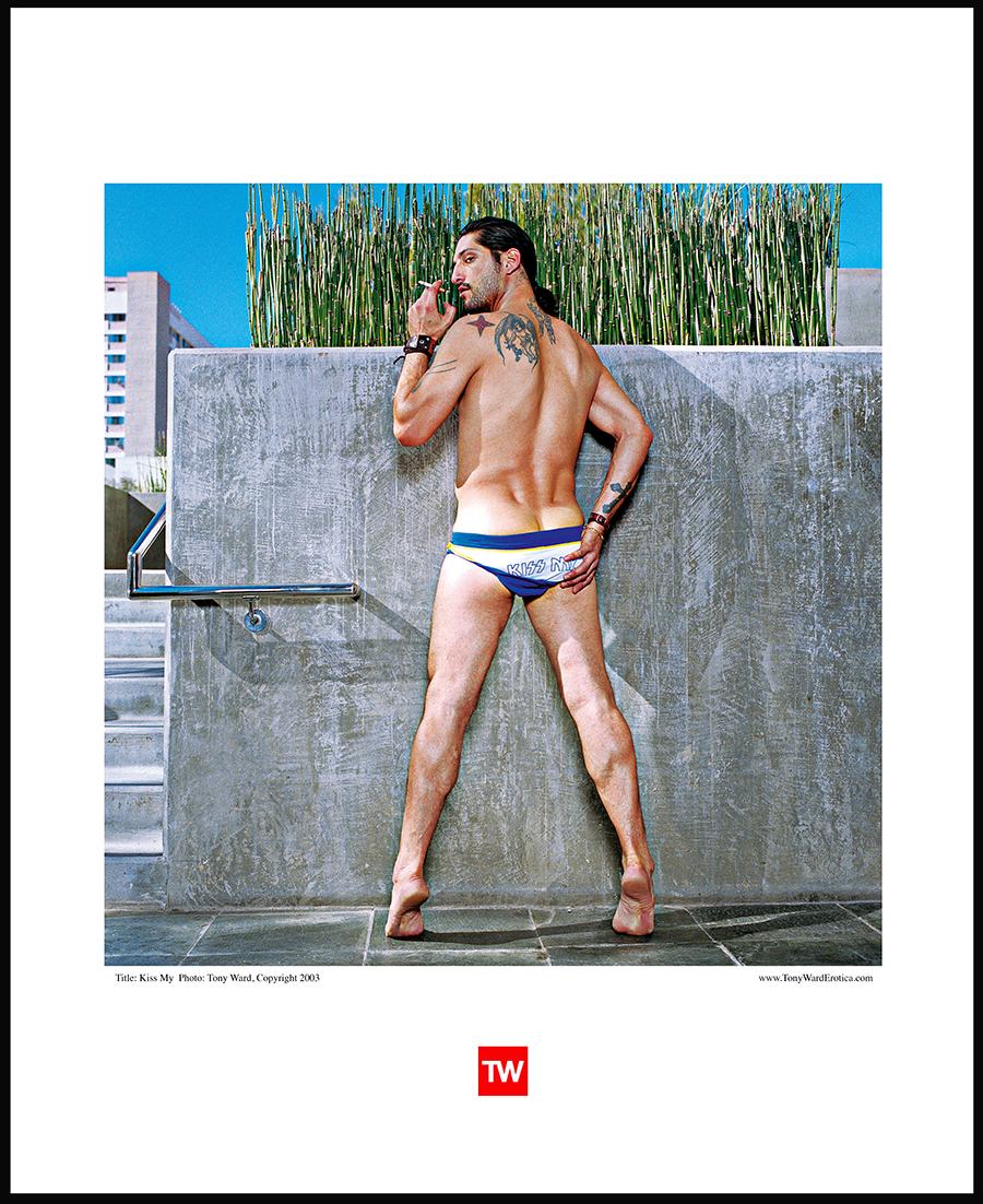 Tony_Ward_Fashion_erotica_male_model_bathing_suit_kiss_my_sexy_men_fashion_modeling_Jed_Williams_Gallery_exhibition