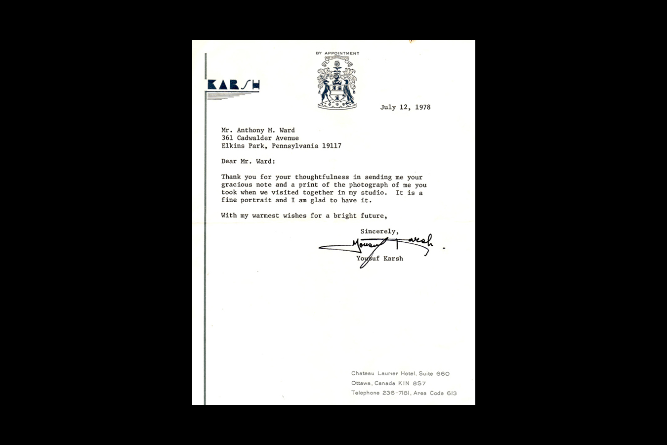 Tony_Ward_Studio_letter_from_Yousuf_Karsh_Toronto_Canada