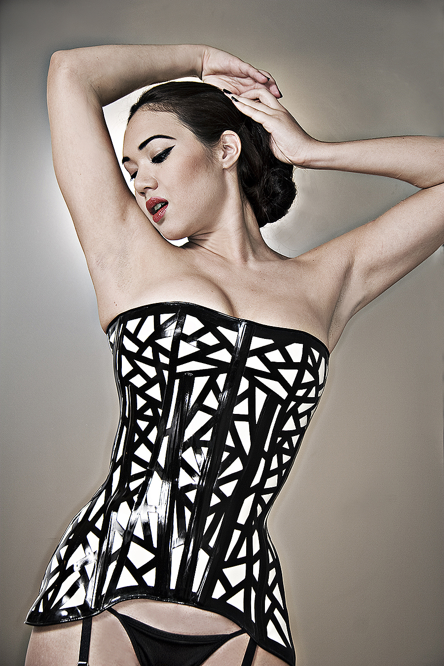 Tony_Ward_erotic_fashion_photography_patterned_corset_black_white_model_fetish_performer_Rachel_V