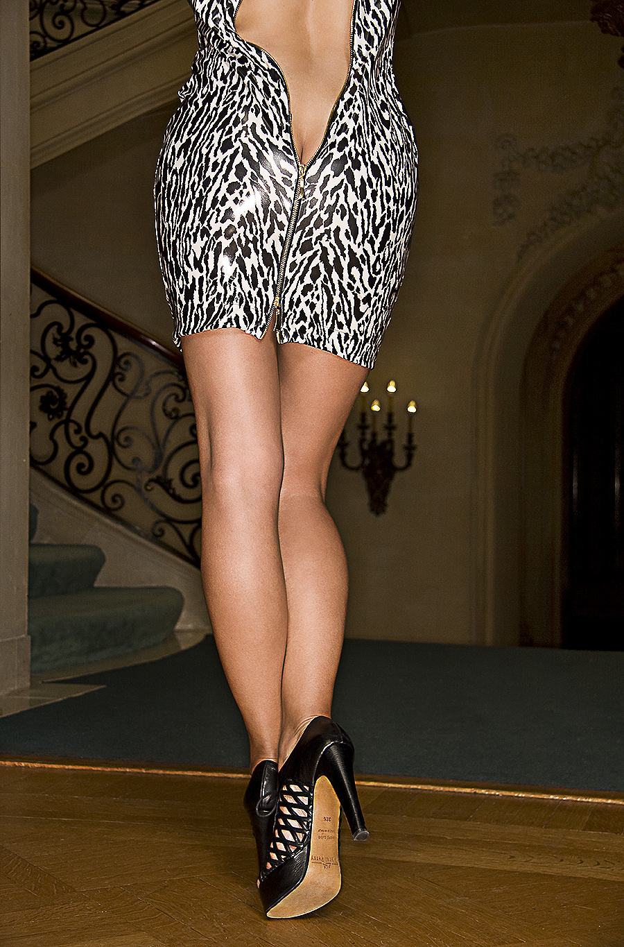 Tony_Ward_fashion_photography_zebra_lace_pattern_dress_black_fishnet_shoes_perfect_shape_mansion_color_large_rings_elegant_stairway_chandeliers_old_mansions_Elkins_Park_estates_model_Carmelita_Martel copy