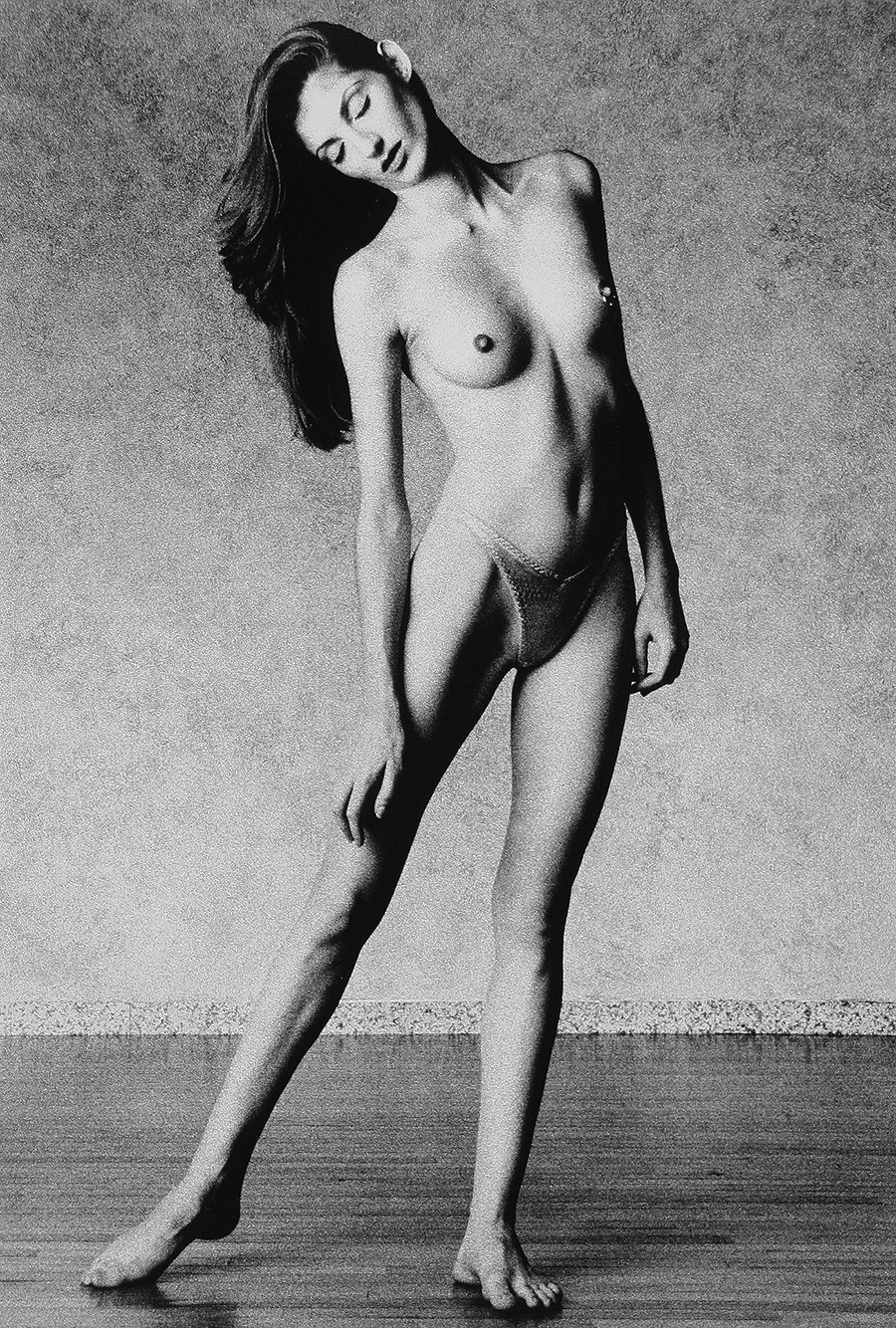 Tony_Ward_Studio_early_work_casting_calls_black_white_model_Catja_topless