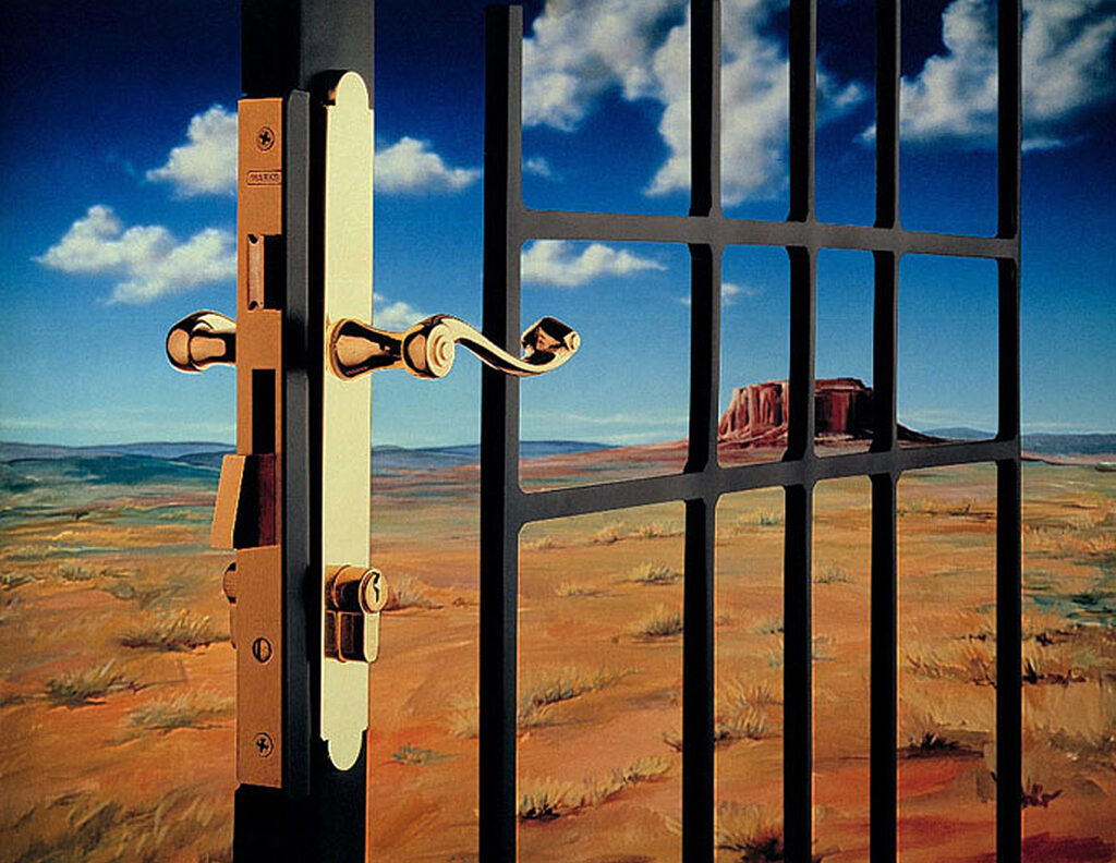 the image is designed to create a metaphor for life behind bars